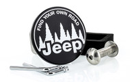 Black Coated Round Hitch Cover with UV Printed 'Find Your Own Road' Jeep Graphic