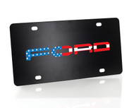 Black Powder Coated License Plate with American Flag Ford Wordmark
