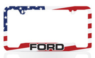 Black Powder Coated License Frame with UV Printed Ford Logo & American Flag Graphic (Colorful Flag)