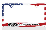 Black Powder Coated License Frame with UV Printed Ford Performance Logo & American Flag Graphic (Colorful Flag)