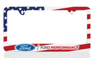 Black Powder Coated License Frame with UV Printed Ford Blue Oval Performance Logo & American Flag Graphic