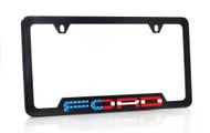 Black Powder Coated License Frame with UV Printed American Flag Ford Wordmark