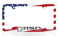 Black Powder Coated License Frame with UV Printed Ford F150 Logo & American Flag Graphic (Colorful Flag)