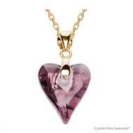 Antique Pink Wild Heart Necklace Embellished with Swarovski Crystals (NE4G-001ANTP)