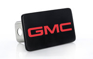 Black Powder Coated Rectangular Hitch Cover with UV Printed Red GMC Logo