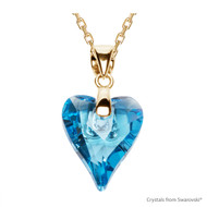 Aquamarine Wild Heart Necklace Embellished with Swarovski Crystals (NE4G-202)
