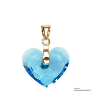 Aquamarine Truly In Love Heart Pendant Embellished with Swarovski Crystals (PE2G-202)
