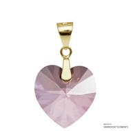 Antique Pink Xilion Heart Pendant Embellished with Swarovski Crystals (PE3G-001ANTP)
