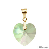 Crystal Luminous Green F Xilion Heart Pendant Embellished with Swarovski Crystals (PE3G-001LUMG)