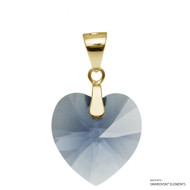 Denim Blue Xilion Heart Pendant Embellished with Swarovski Crystals (PE3G-266)