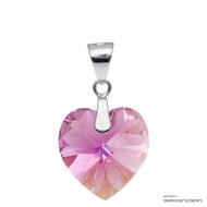 Rose AB Xilion Heart Pendant Embellished with Swarovski Crystals (PE3R-209AB)