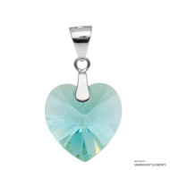 Light Turquoise Xilion Heart Pendant Embellished with Swarovski Crystals (PE3R-263AB)