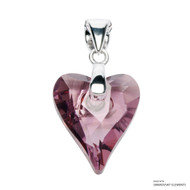 Antique Pink Wild Heart Pendant Embellished with Swarovski Crystals (PE4R-001ANTP)