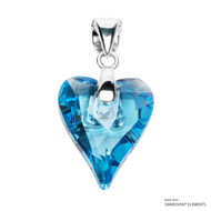 Aquamarine Wild Heart Pendant Embellished with Swarovski Crystals (PE4R-202)