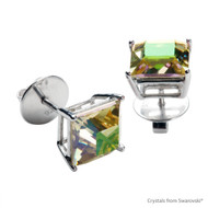 Luminous Green Xlion Square Stud Earrings Embellished with Swarovski Crystals