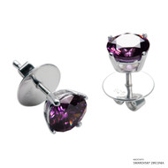 1 Carat Amethyst Solitaire Earring Made with Swarovski Zirconia