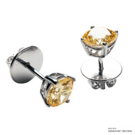 1 Carat Fancy Yellow Solitaire Earring Made with Swarovski Zirconia