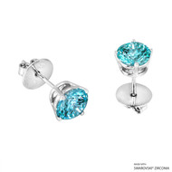 2 Carat Mint Round Stud Earring Made with Swarovski Zirconia