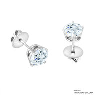 2 Carat White Round Stud Earring Made with Swarovski Zirconia