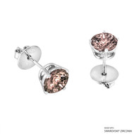 2 Carat Fancy Brown Round Stud Earring Made with Swarovski Zirconia