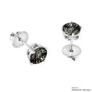 2 Carat Black Round Stud Earring Made with Swarovski Zirconia