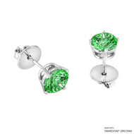 2 Carat Fancy Green Round Stud Earring Made with Swarovski Zirconia