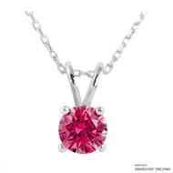 1 Carat Red Round Necklace Made with Swarovski Zirconia