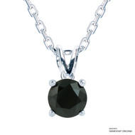 1 Carat Black Solitaire Necklace Made with Swarovski Zirconia