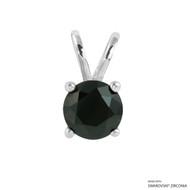 1 Carat Black Round Pendant Made with Swarovski Zirconia