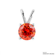 1 Carat Orange Round Pendant Made with Swarovski Zirconia