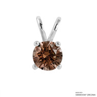 1 Carat Fancy Brown Round Pendant Made with Swarovski Zirconia