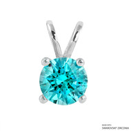 2 Carat Mint Round Pendant Made with Swarovski Zirconia
