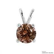 2 Carat Fancy Brown Round Pendant Made with Swarovski Zirconia