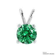 2 Carat Fancy Green Round Pendant Made with Swarovski Zirconia
