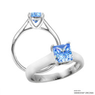 1 Carat Fancy Blue Princess Ring Made with Swarovski Zirconia