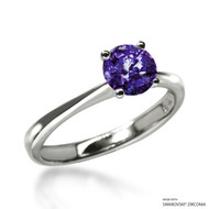 Classic 1 Carat Amethyst Solitaire Ring Made with Swarovski Zirconia