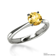 Classic 1 Carat Amber Solitaire Ring Made with Swarovski Zirconia