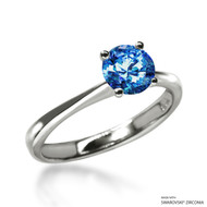 Classic 1 Carat Fancy Blue Solitaire Ring Made with Swarovski Zirconia