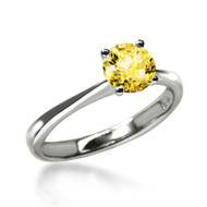 Classic 1 Carat Fancy Yellow Solitaire Ring Made with Swarovski Zirconia