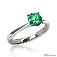 Classic 1 Carat Fancy Green Solitaire Ring Made with Swarovski Zirconia