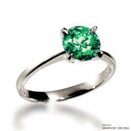 Classic 2 Carat Fancy Green Solitaire Ring Made with Swarovski Zirconia