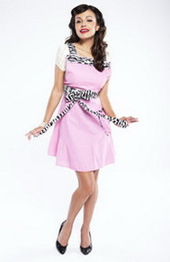 Grandway Apron - THE BETTY PINK WITH ZEBRA TIES