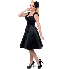 Unique Vintage Jayne Swing Dress - Black