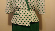 Vintage Green polka dot 2pce Skirt suit