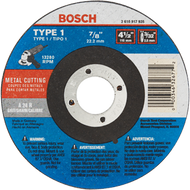 "4 1/2"" - 3/32"" 7/8"" Arbor 24 Grit Metal Cutting Abrasive Wheel"