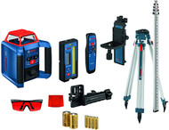 The Bosch REVOLVE2000 Self-Leveling Horizontal/Vertical Rotary Laser Kit delivers a comprehensive solution for precise outdoor and indoor leveling. Manual Dual Slope allows the user to adjust the slope angle on the laser on both the X- and Y-axes. The GRL2000-40HVK features a horizontal/vertical self-leveling laser, suitable for leveling and aligning applications. This kit contains an all-in-one hard carrying case designed to hold all included accessories. The REVOLVE2000 rotary laser delivers ±1/16 In. accuracy at 100 Ft. and a working range of up to 2,000 Ft. with the included receiver. The laser's electronic self-leveling system has a disturbance monitor, which indicates to the user if tool position changes, ensuring consistent leveling accuracy on the jobsite. The laser has a red metal cage for durability. Easy to use, the kit includes an all-in-one solution includes an LR20 laser receiver with mounting bracket, aluminum tripod, RC4 remote control, WM4 wall mount and sturdy grade rod.