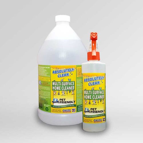 Absolutely Clean Pet Friendly Multi-Surface Home Cleaner bottles.
