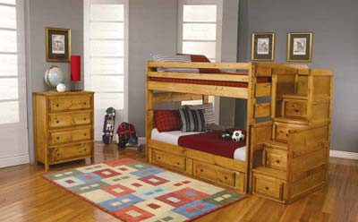 Full Full Bunk Bed With Staircase And Drawers Mattresses And More