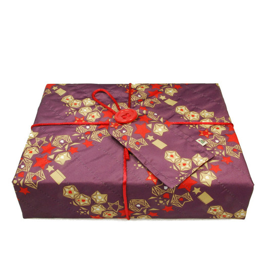Medium Crackle fabric wrap in Mulled Spice.  Shown wrapping example gift.