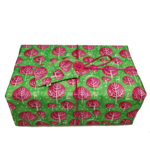 Large Crackle fabric wrap in Neon Pink.  Shown wrapped.